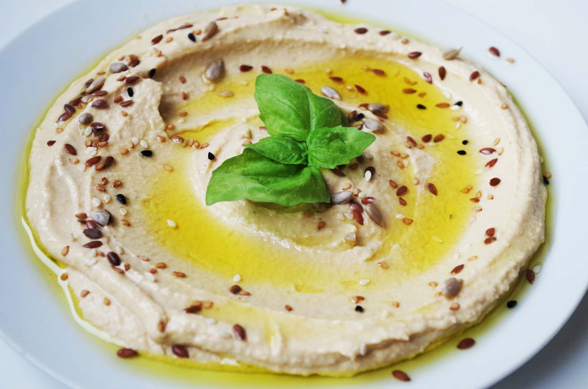 Hummus met sesamzaadjes