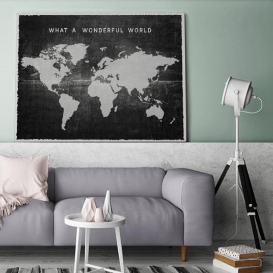 Stof zwart vintage wereldkaart interieur canvas