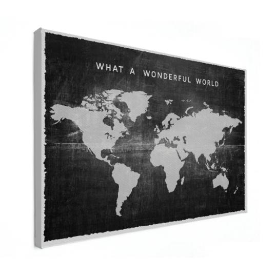 Stof zwart vintage wereldkaart op canvas